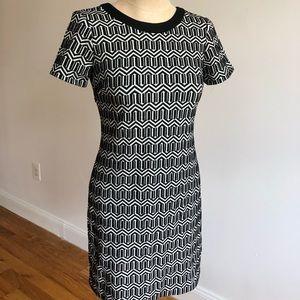 Black and White Patterned Banana Republic Dress